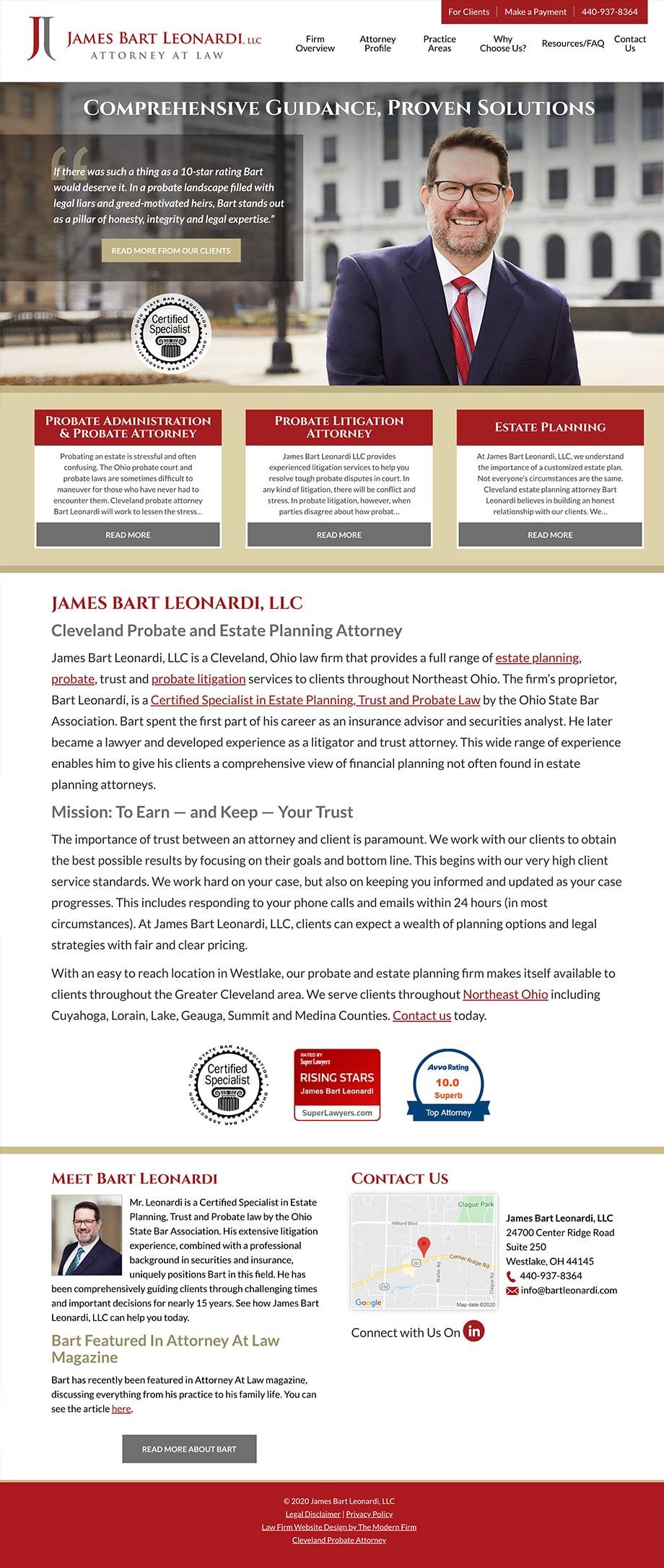 Law Firm Website Design for James Bart Leonardi, LLC