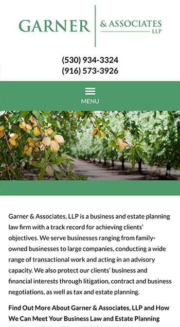 Responsive Mobile Attorney Website for Garner & Associates, LLP