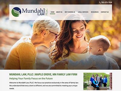 Law Firm Website design for Mundahl Law, LLC