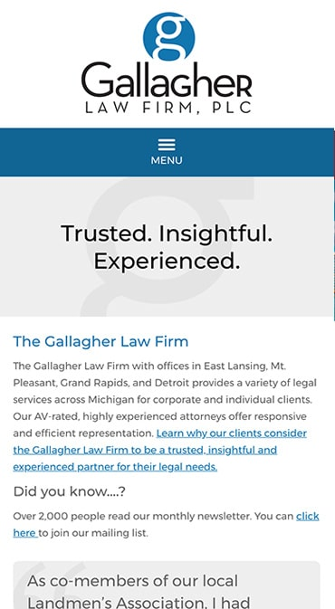 Responsive Mobile Attorney Website for The Gallagher Law Firm, PLC