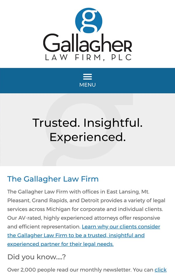 Mobile Friendly Law Firm Webiste for The Gallagher Law Firm, PLC