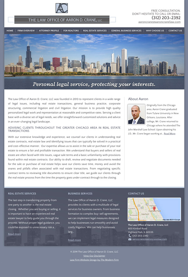 Law Firm Website Design for The Law Office of Aaron D. Crane, LLC