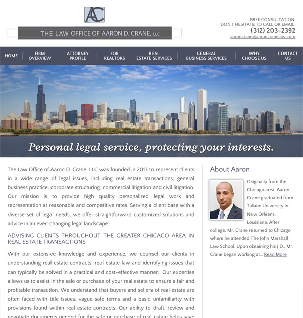 Mobile Friendly Law Firm Webiste for The Law Office of Aaron D. Crane, LLC