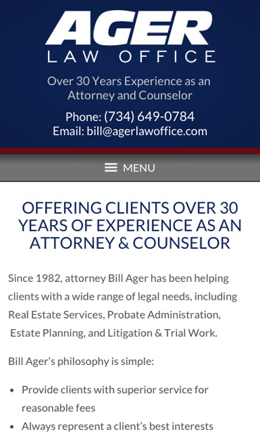 Responsive Mobile Attorney Website for Ager Law Office PC