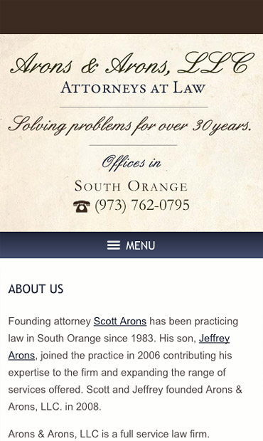 Responsive Mobile Attorney Website for Arons & Arons, LLC