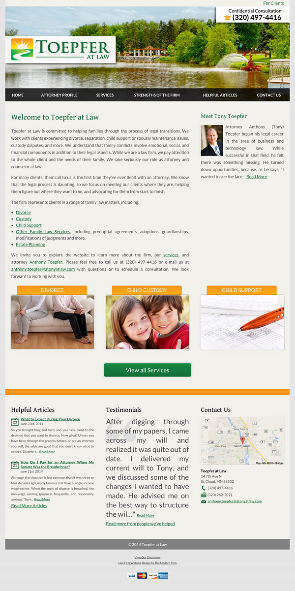Law Firm Website Design for Toepfer at Law