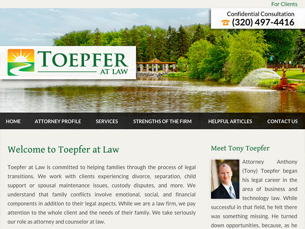 Mobile Friendly Law Firm Webiste for Toepfer at Law
