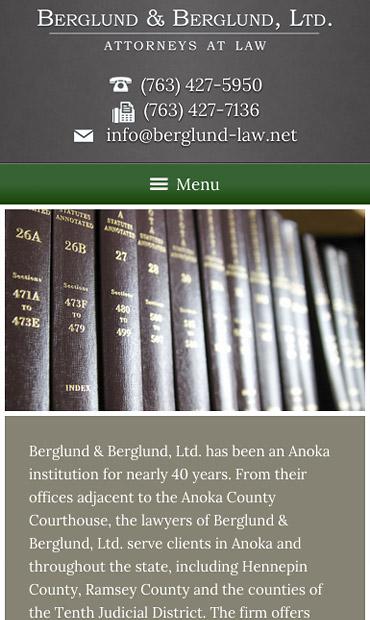 Responsive Mobile Attorney Website for Berglund & Berglund, Ltd.