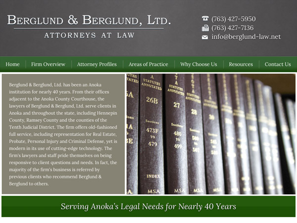 Mobile Friendly Law Firm Webiste for Berglund & Berglund, Ltd.
