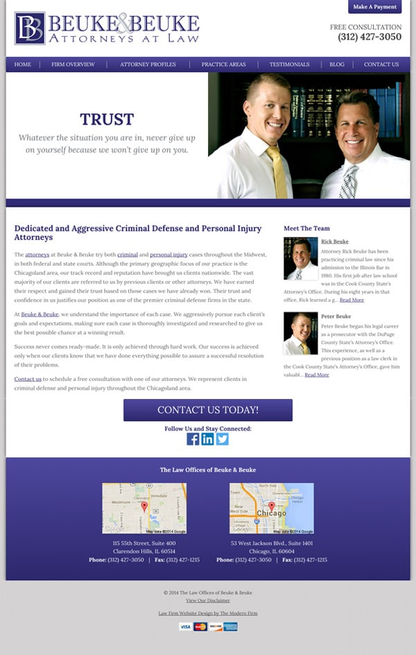 Law Firm Website Design for The Law Offices of Beuke & Beuke