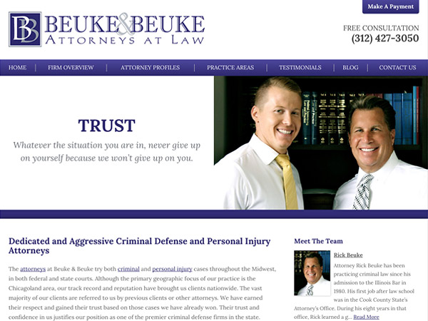 Mobile Friendly Law Firm Webiste for The Law Offices of Beuke & Beuke