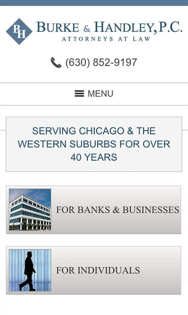 Responsive Mobile Attorney Website for Burke & Handley, P.C.