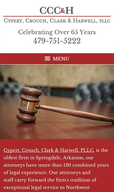 Responsive Mobile Attorney Website for Cypert, Crouch, Clark & Harwell, PLLC