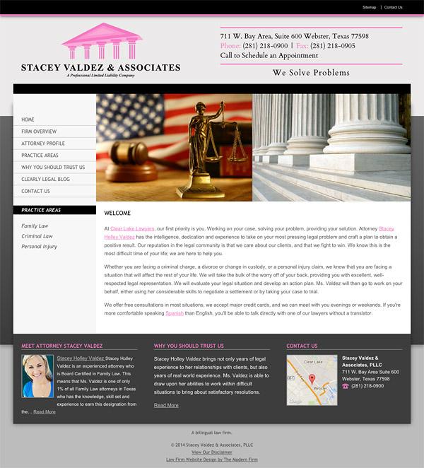 Law Firm Website Design for Stacey Valdez & Associates, PLLC