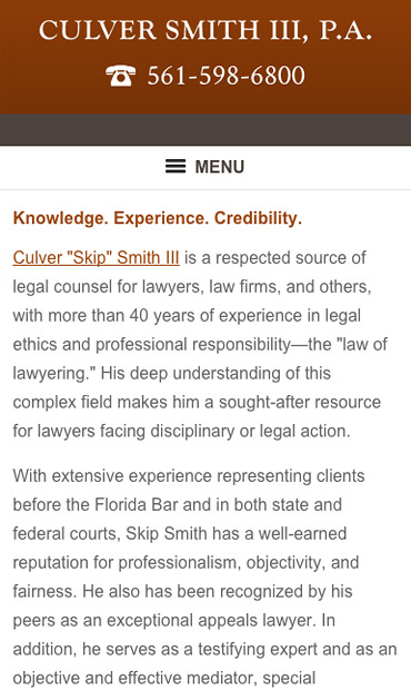 Responsive Mobile Attorney Website for Culver Smith, III, P.A.