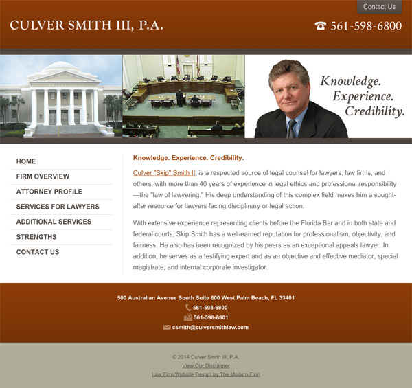 Mobile Friendly Law Firm Webiste for Culver Smith, III, P.A.