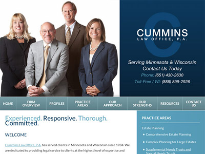 Law Firm Website design for Cummins Law Office, P.A.