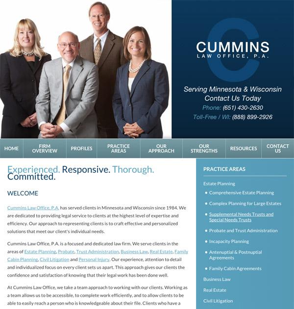 Mobile Friendly Law Firm Webiste for Cummins Law Office, P.A.