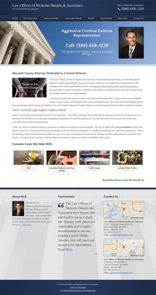 Law Firm Website Design for Law Offices of Nickolas Daniels & Associates