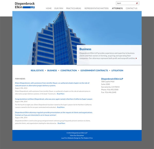 Law Firm Website Design for Diepenbrock Elkin, LLP