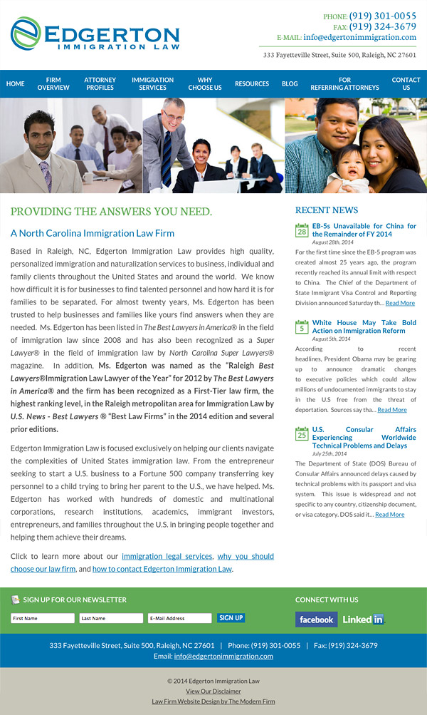 Law Firm Website Design for Edgerton Immigration Law