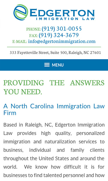 Responsive Mobile Attorney Website for Edgerton Immigration Law