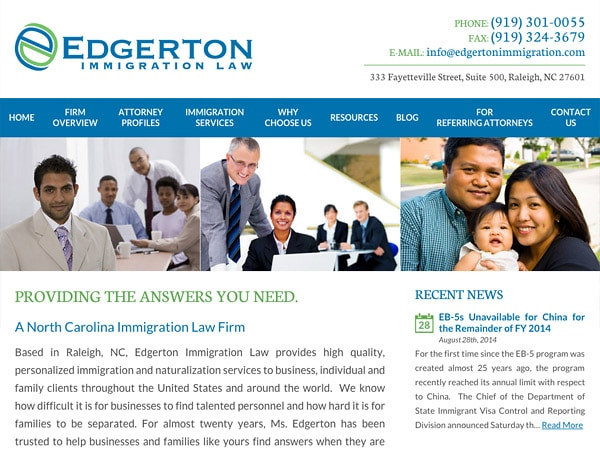Mobile Friendly Law Firm Webiste for Edgerton Immigration Law
