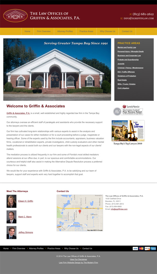 Law Firm Website Design for The Law Offices of Griffin & Associates, P.A.