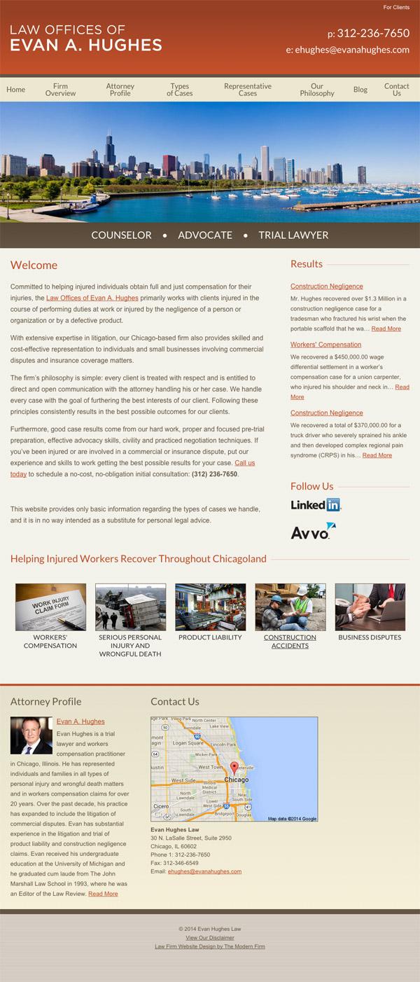 Law Firm Website Design for Evan Hughes Law
