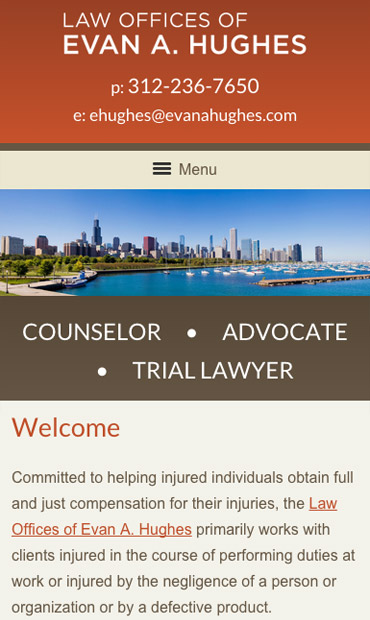 Responsive Mobile Attorney Website for Evan Hughes Law