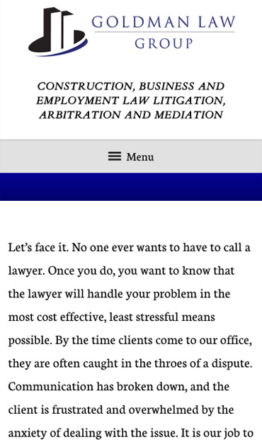 Responsive Mobile Attorney Website for Goldman Law Group