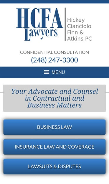 Responsive Mobile Attorney Website for Hickey, Cianciolo, Finn & Atkins, PC