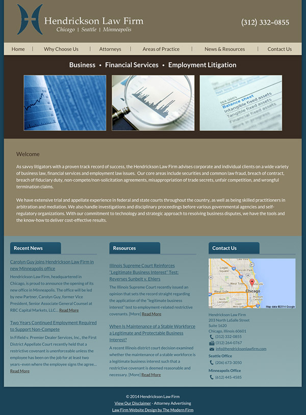 Law Firm Website Design for Hendrickson Law Firm