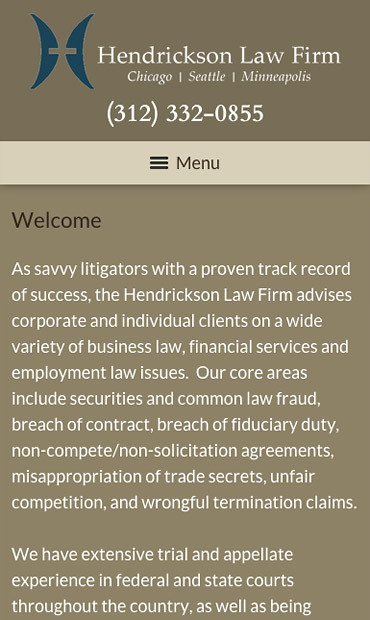 Responsive Mobile Attorney Website for Hendrickson Law Firm