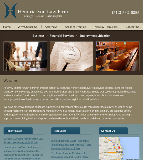 Mobile Friendly Law Firm Webiste for Hendrickson Law Firm