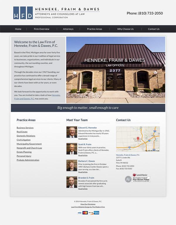 Law Firm Website Design for Henneke, Fraim & Dawes, P.C.