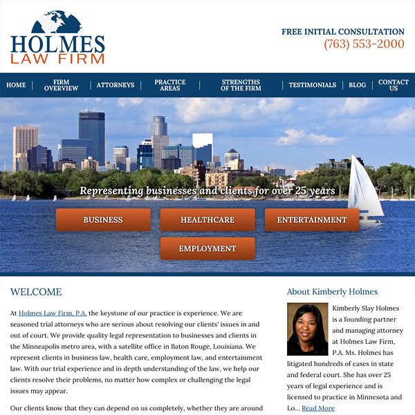 Mobile Friendly Law Firm Webiste for Holmes Law Firm