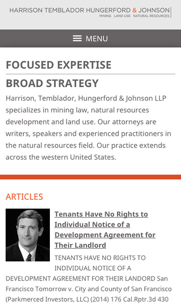 Responsive Mobile Attorney Website for Harrison, Temblador, Hungerford & Johnson LLP