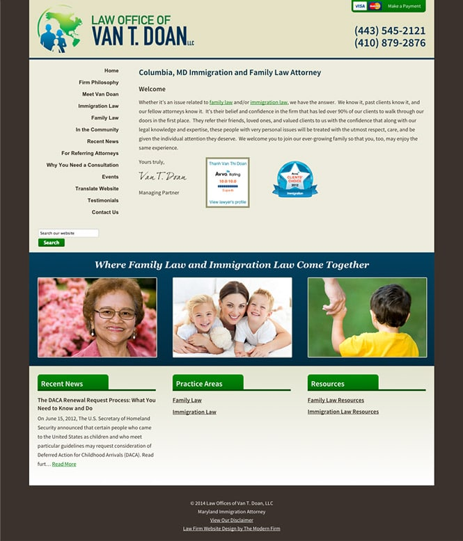 Law Firm Website Design for Law Offices of Van T. Doan, LLC