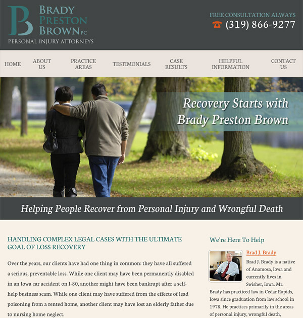 Mobile Friendly Law Firm Webiste for Brady Preston Brown, PC