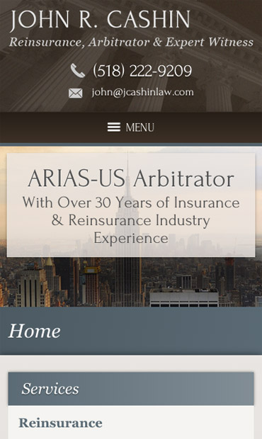 Responsive Mobile Attorney Website for Law Office of John R. Cashin