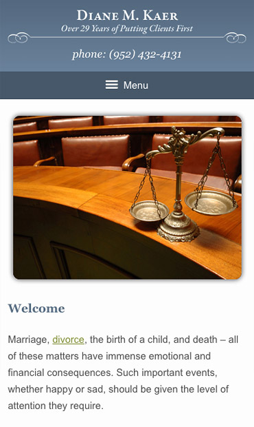 Responsive Mobile Attorney Website for Diane M. Kaer, Attorney at Law