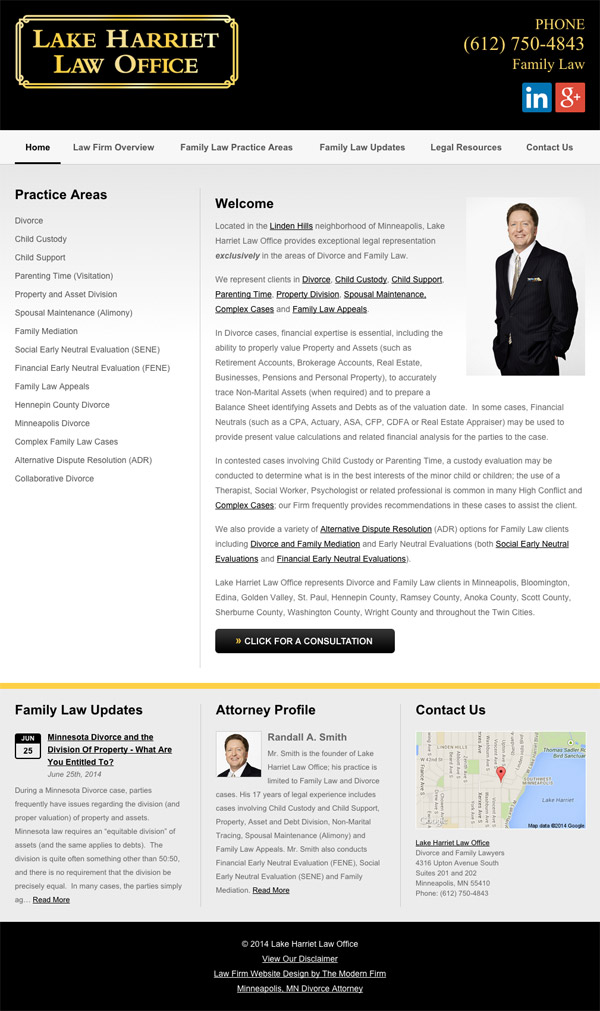 Law Firm Website Design for Lake Harriet Law Office