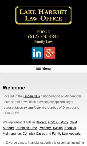 Responsive Mobile Attorney Website for Lake Harriet Law Office