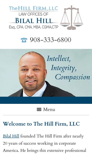 Responsive Mobile Attorney Website for The Hill Firm, LLC