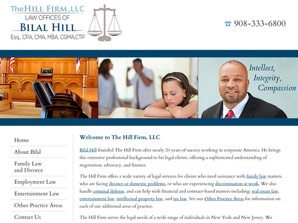 Mobile Friendly Law Firm Webiste for The Hill Firm, LLC