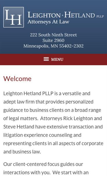 Responsive Mobile Attorney Website for Leighton Hetland PLLP