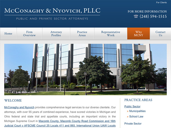 Mobile Friendly Law Firm Webiste for McConaghy & Nyovich, PLLC