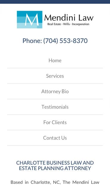 Responsive Mobile Attorney Website for The Mendini Law Firm