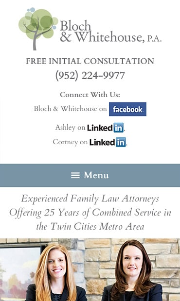 Responsive Mobile Attorney Website for Bloch & Whitehouse, P.A.